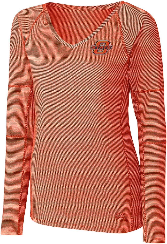 College Orange NCAA Oklahoma State Cowboys Adult Women Long Sleeve Victory V-Neck 3X-Large
