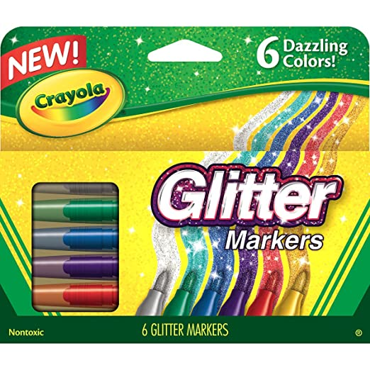 Crayola Glitter Markers, 6 Count Arts & Crafts at amazon