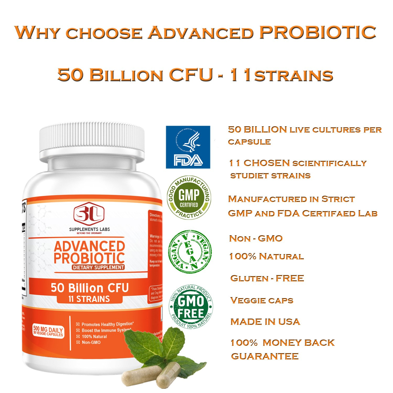 Advanced Probiotic 50 Billion CFU & 11 Strains Organisms Per Serving, Stomach Acid Resistant, Non-GMO, Gluten Free, Veggie, Patented Prebiotic Supplement for Men & Women, No Refrigeration Required
