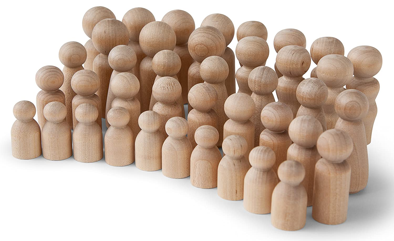 Great for Arts and Crafts Artist Set of 40 in 5 Different Shapes and Sizes Quality People Shapes Koalabu Natural Unfinished Wooden Peg Doll Bodies Birch and Maple Wood Turnings