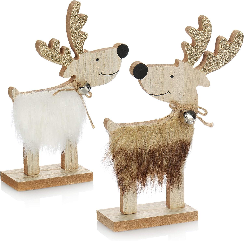 com-four® 2X Arbol de Navidad Decorativo - Arbol de Navidad Moderno de Madera - Arbol Carton Grande como decoración [la selección varía] (02 Reno 17cm marrón Blanco)