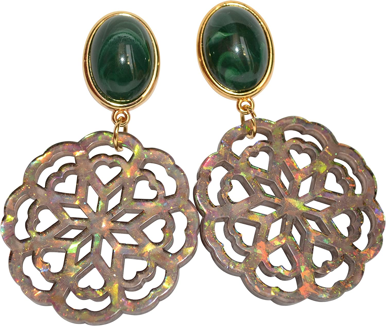 verdes grandes pendientes de clips (Dorado) con turmalina de piedra verde y colgante reluciente muy ligera Prime