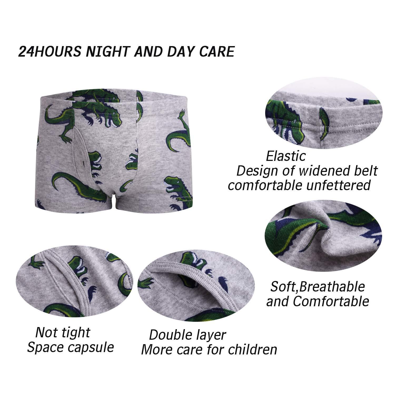 Boys Boxer Briefs 2T-9T Cool Breathable Comfort Cotton 6-Pack Adorable Cartoon