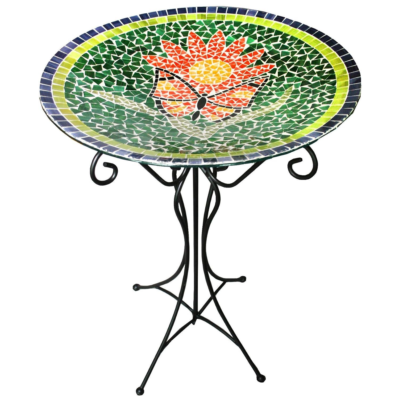 Butterfly Design Gardener's Select Mosaic Glass Bird Bath and Stand, Butterfly Design