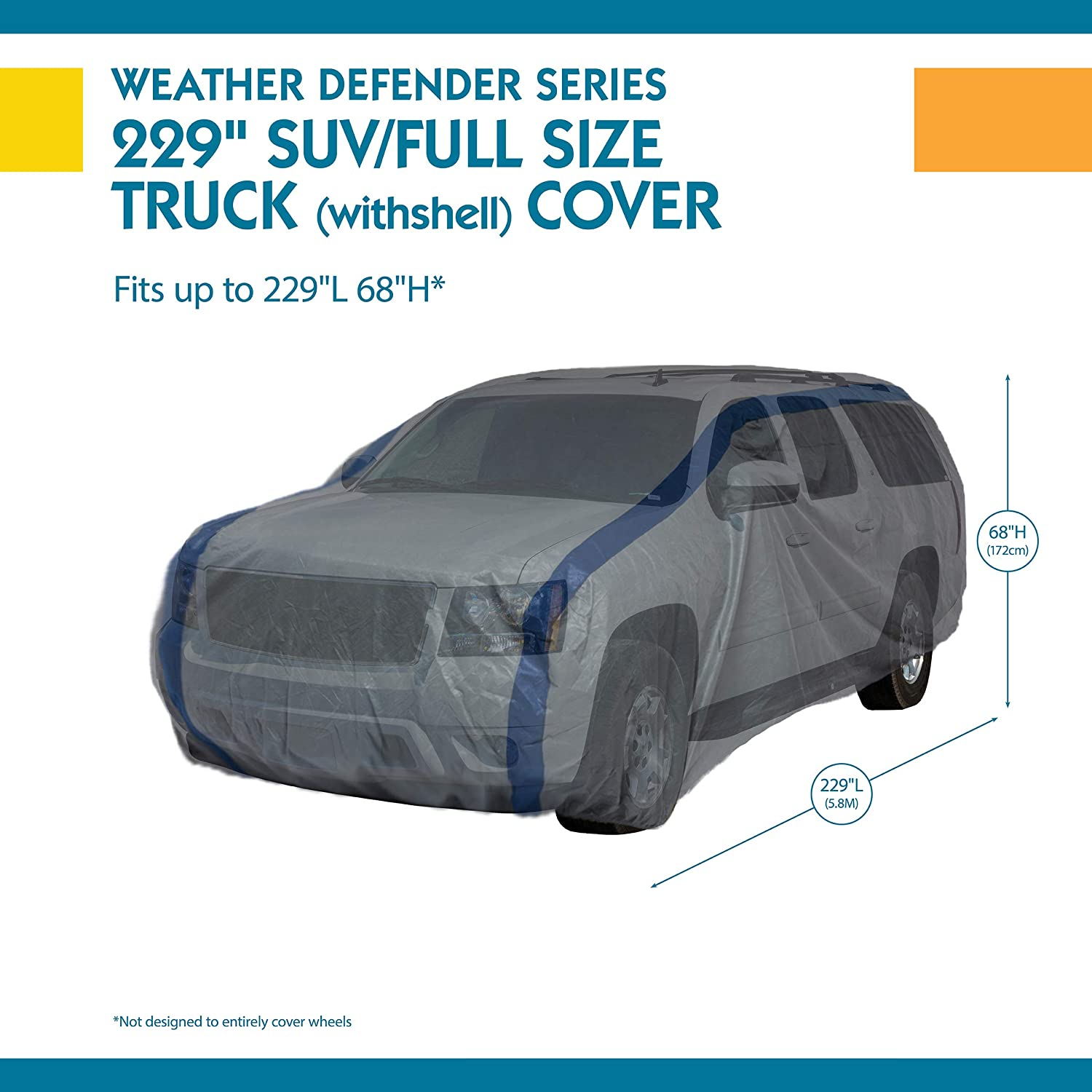 Duck Covers Weather Defender SUV Cover for SUVs//Pickup Trucks with Shell or Bed Cap up to 19 1