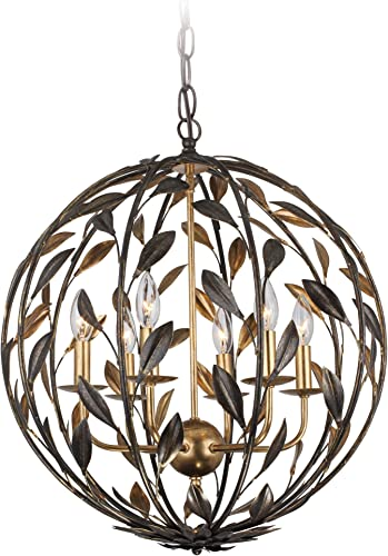 Maxim 39886BCBZ Glimmer Beveled Crystal Orb Chandelier, 5-Light Xenon 200 Watts, 18 H x 16 W, Bronze