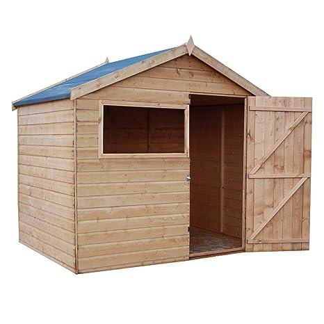 6 x 8 cobertizo (madera, Apex jardín cobertizo con puerta, Apex el techo
