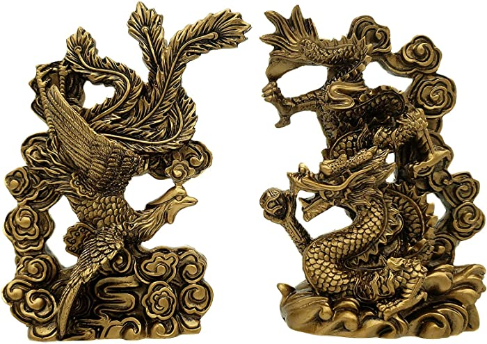 Betterdecor Feng Shui Chinese Dragon and Phoenix Statue Fgurine Decoration for Marriage Luck (with a Gift Bag)