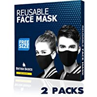 BRITISH BASICS Branded Reusable Cotton Cloth Face Mask. Unisex Washable mouth cover for Men & Woman. Anti Dust Mask for Cycling, Jogging, Walking, Travel etc - Free Size - Black - 2 Packs