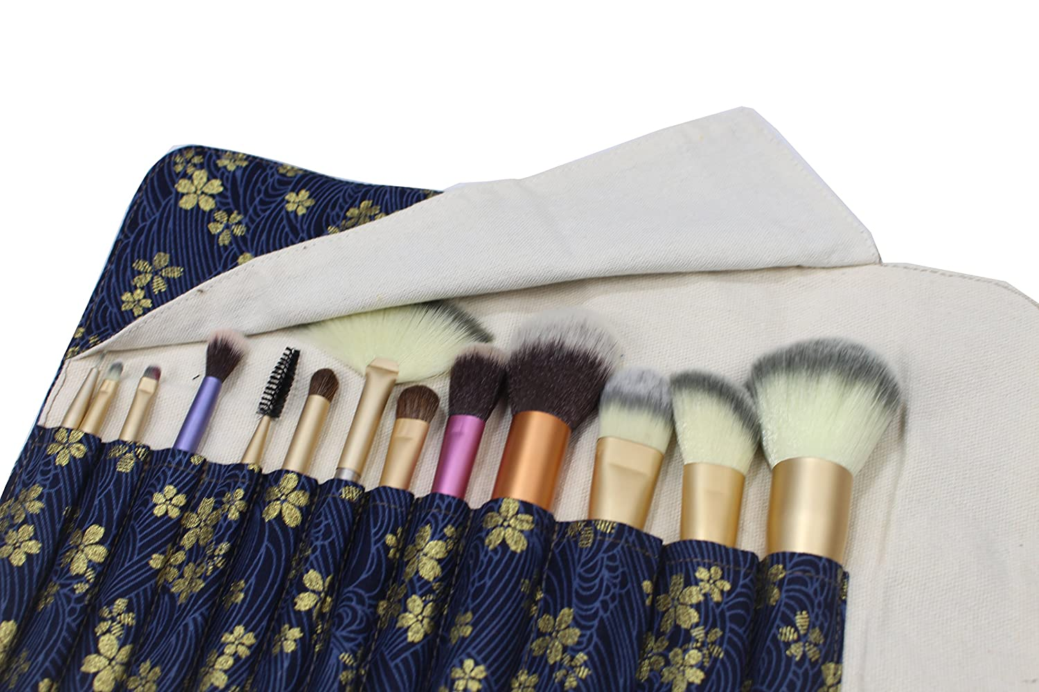 6db4ce16a69a Amazon.com   12 Pockets Makeup Brushes Rolling Case Pouch Holder Cosmetic  Bag Organizer Case with Belt Strap
