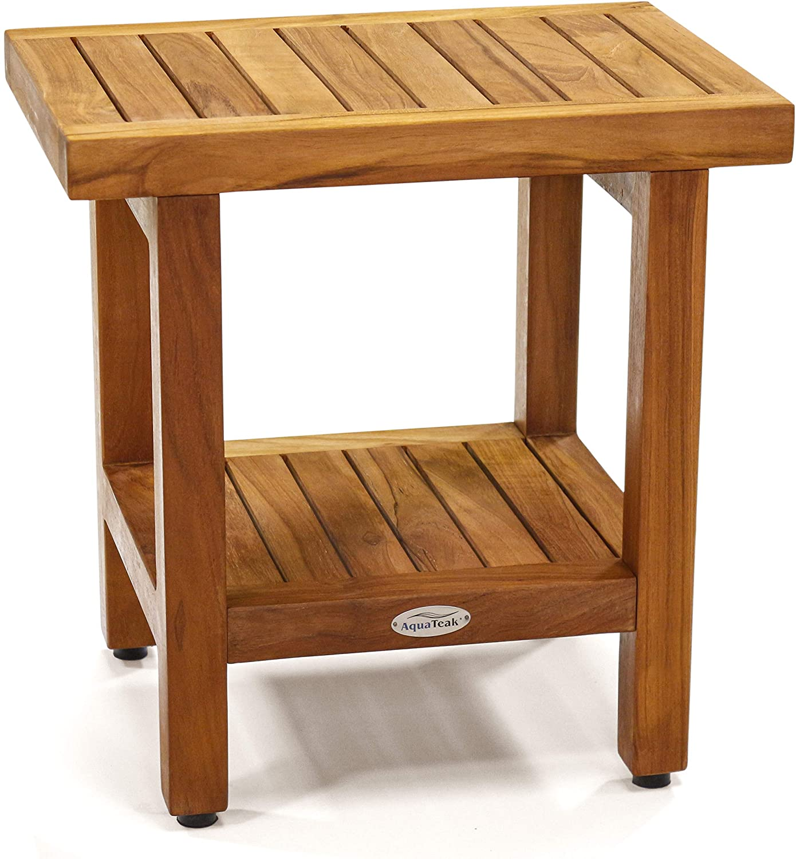 """Aquateak die Original 18"""" Spa Teak Shower Bench mit Shelf"""