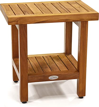 Shower Caddy 100/% Solid Aqua Teak Wood Naturally Water Resistant and Durable