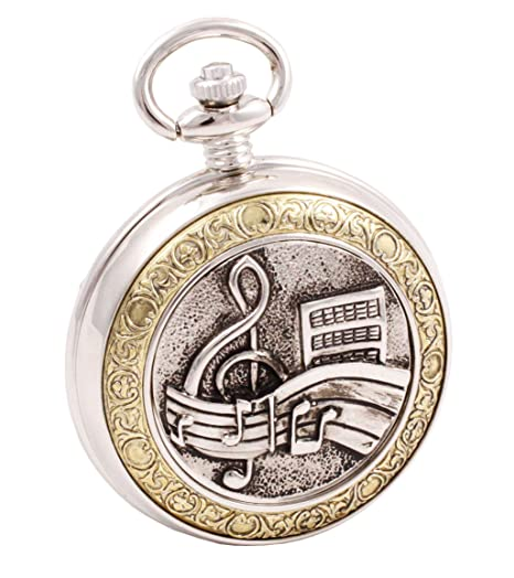 ShoppeWatch Pocket Watch Music Symbols Musician Motif with Chain Full  Hunter Steampunk Cosplay PW-94