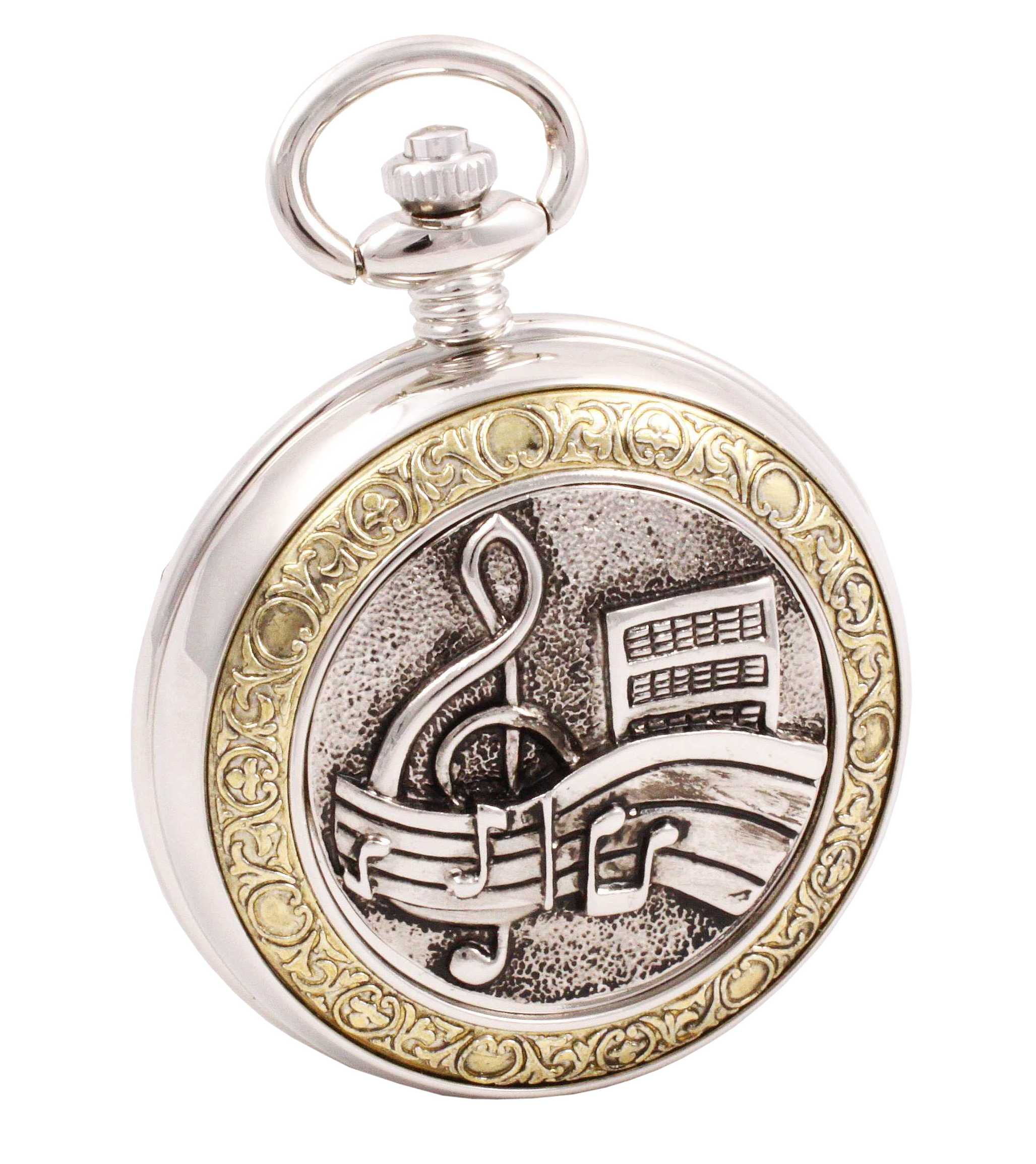 Shoppewatch Pocket Watch Music Symbols Roman Numeral with Chain for Musician Steampunk Cosplay PW-94 by ShoppeWatch