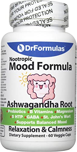 DrFormulas Mood Boost Probiotics with Stress B Complex Vitamins for Kids, Women, Men Nexabiotic Supplement with Ashwagandha Capsules, St Johns Wort, GABA, Magnesium for Calm Anxiety, 60 Count