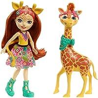 Enchantimals Mini-poupée articulée Gillian Giraffe et Grande Figurine Animale Pawl, rousse avec jupe à motifs en tissu, jouet enfant, FKY74