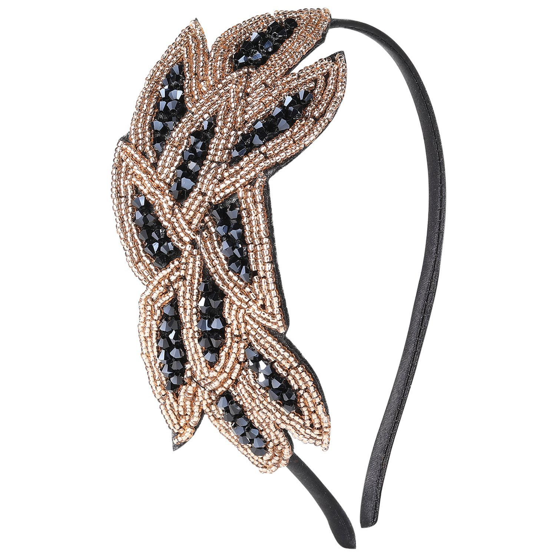ArtiDeco Headband Gatsby, 1920s Bandeau Plume Bandeau Cristal Gatsby Flapper Accessoires Charleston Bandeau Année 20 Vintage Partie à Thème ArtiDeco Bandeau Gatsby Ar-Headband005-Gold