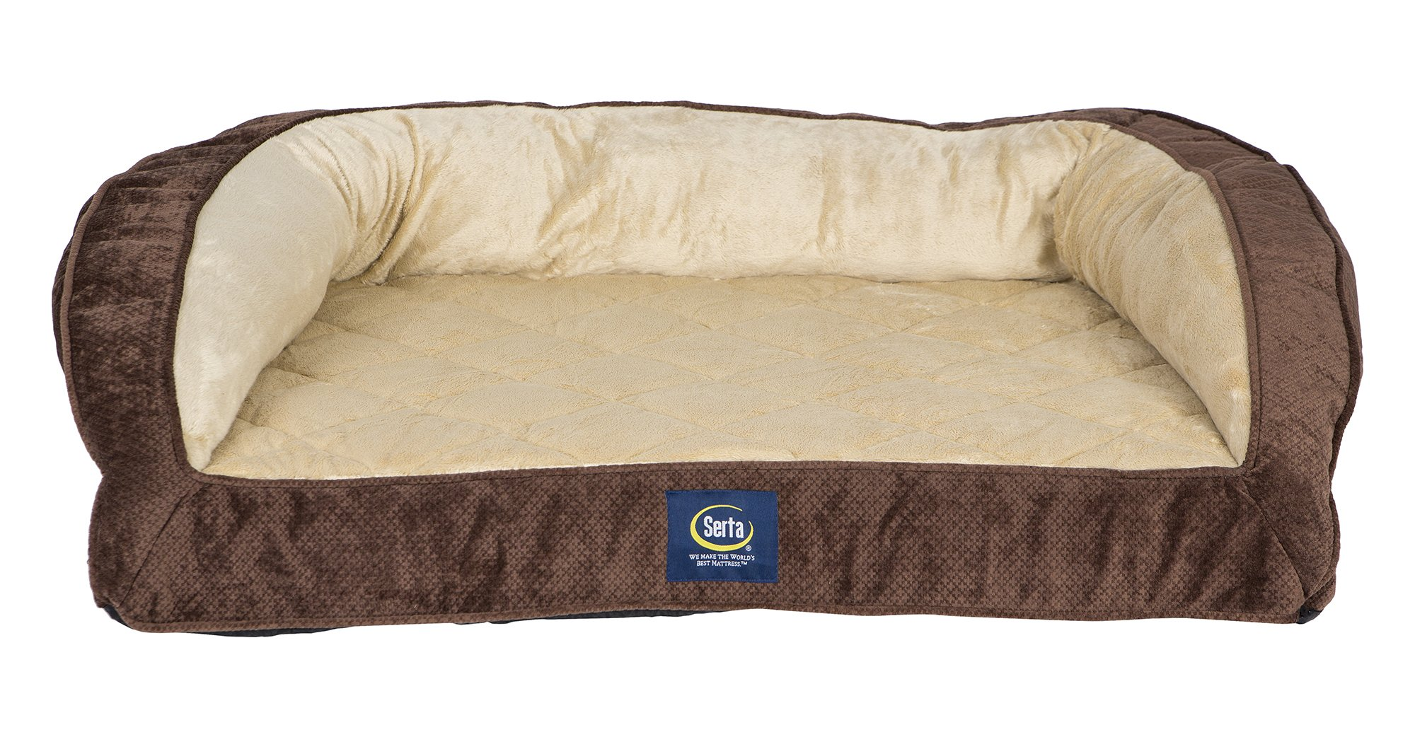 Serta Orthopedic Quilted Couch Mocha Large
