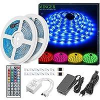 Minger Kit de Ruban à LED Etanche 2x5M 5050 RGB SMD Multicolore Bande LED Lumineuse avec Télécommande à Infrarouge 44 Touches et Alimentation 4A 12V
