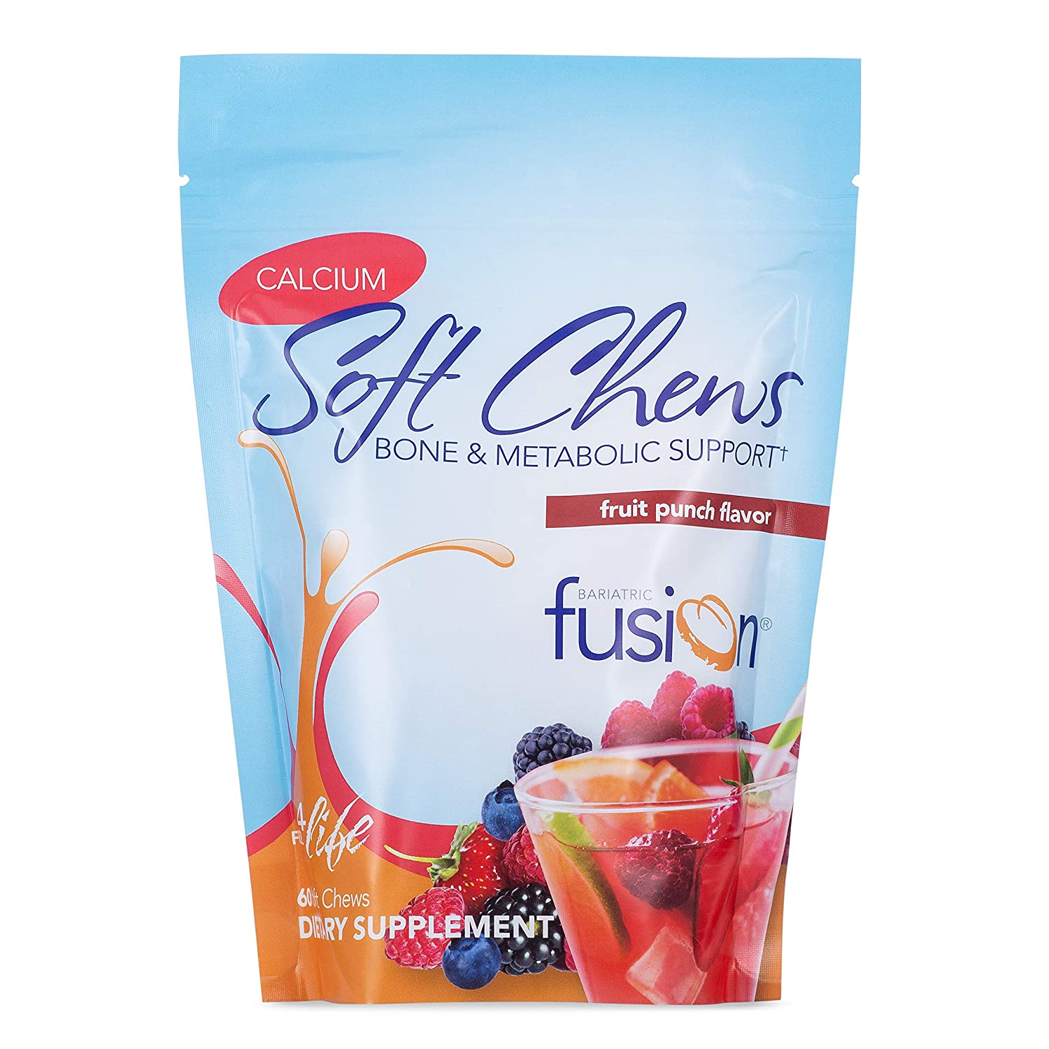 Bariatric Fusion 500mg Calcium Citrate Energy Soft Chew Fruit Punch Flavor for Bariatric Surgery Patients Including Gastric Bypass and Sleeve Gastrectomy, 60 Count