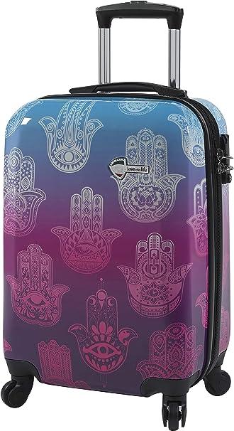 Mia Toro Love This Life-Medallions Hardside 20 Inch Spinner Luggage Purple