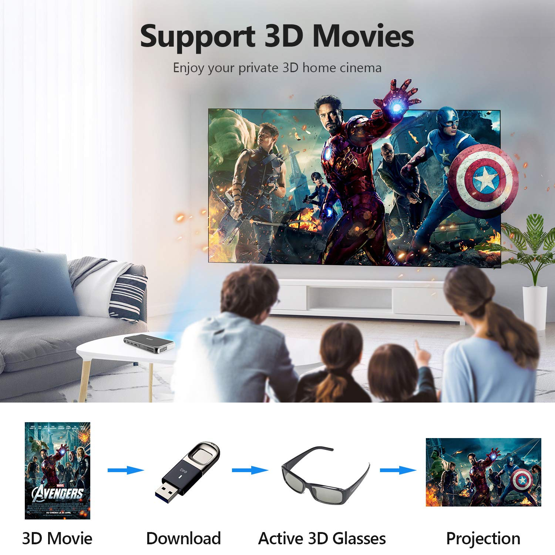 DLP Proyectores 2GB RAM Cine en Casa Android 7.1 Videoproyector Entrada HDMI Proyector Port/átil Soporte Full HD 1080P 4K OTHA Mini Proyector 200ASIN L/úmenes