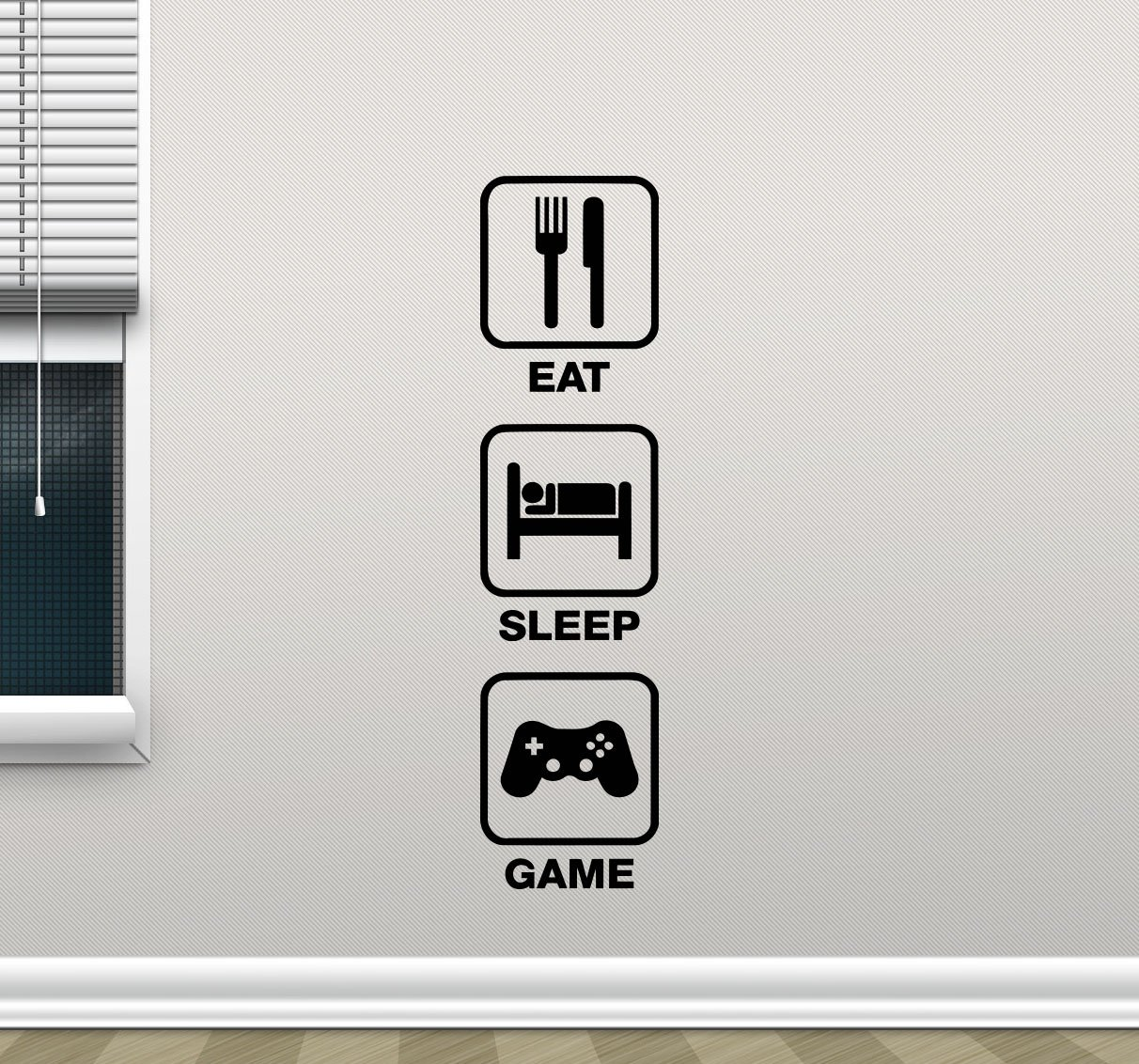 Eat Sleep Game Gaming Quote Wall Decal Video Game Gamepads Playroom Vinyl Sticker Gamer Xbox PS PC Home School College Office Kids Living Room Decor Nursery Wall Art Design Bedroom Mural 92bar by CarolGreyDecals (Image #1)
