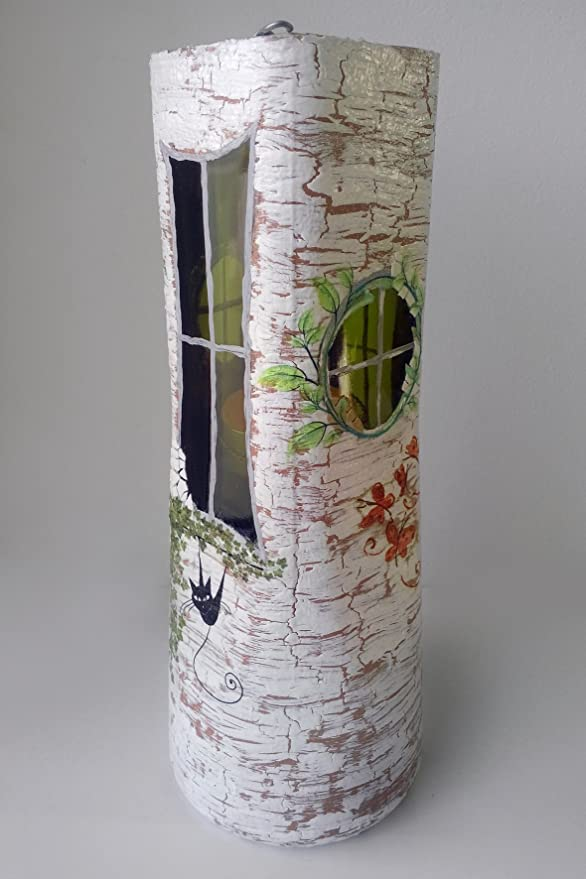 Hecho a mano soporte para velas Collage Botella Cristal Acrílico Decor: Amazon.es: Hogar