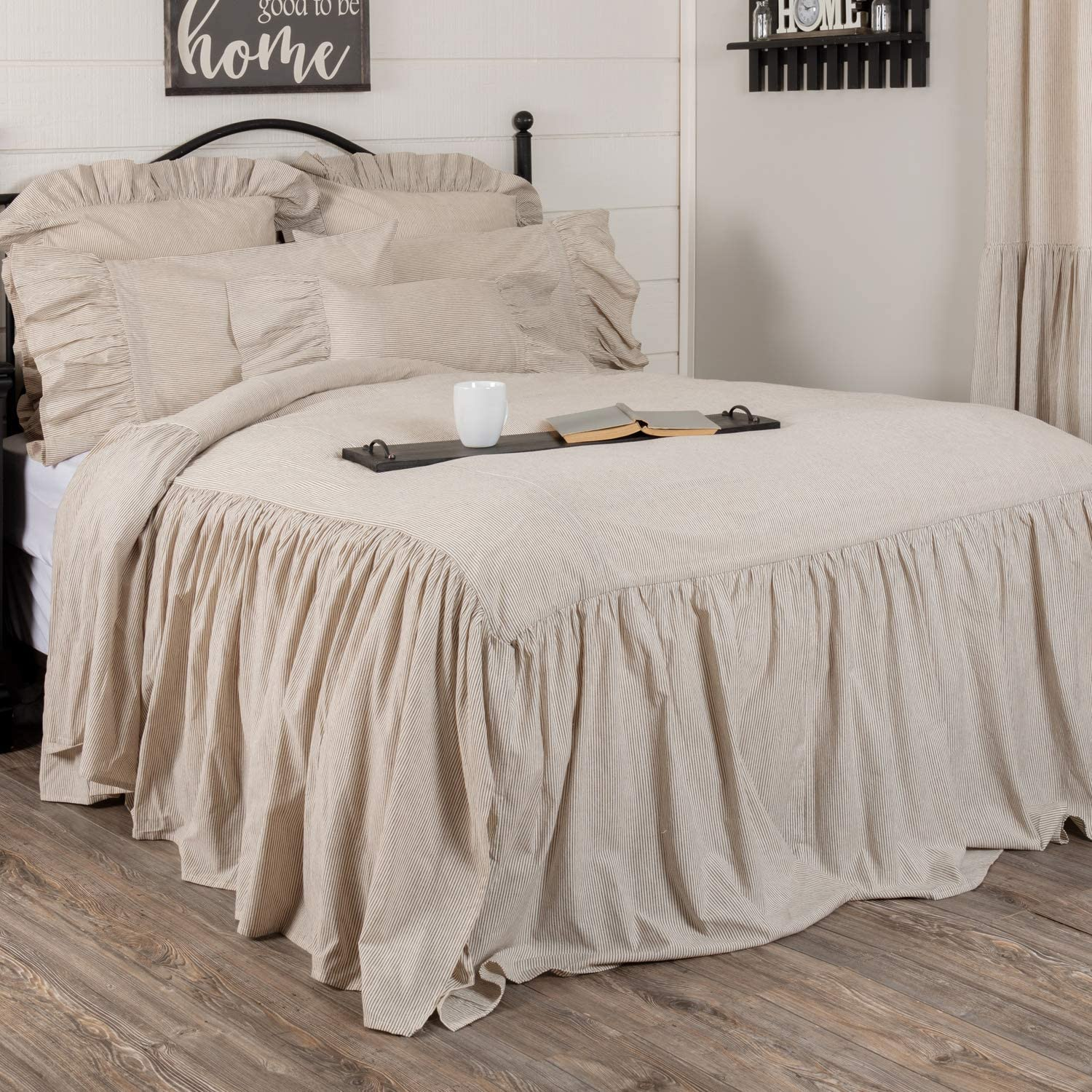 Sara S Ticking Skirted Queen Bedspread W 27 Ruffled Skirt Cream Black Mini Stripe Vintage Farmhouse Country Cottage Bedding Kitchen Dining