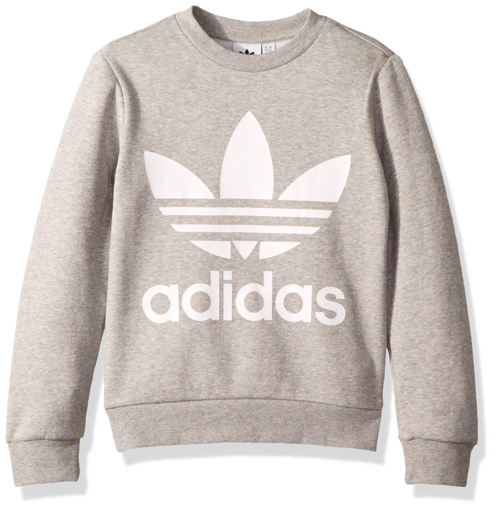 adidas Originals Boys' Little Trefoil Crew, Medium Grey Heather/White, XS