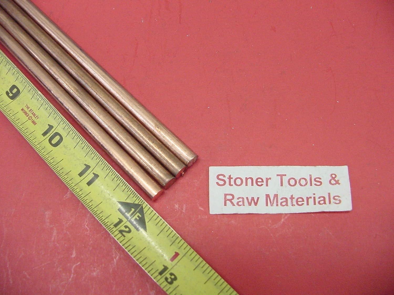 4 Pieces 1//4 C110 COPPER ROUND ROD 12 long H04 .250 CU New Lathe Bar Stock