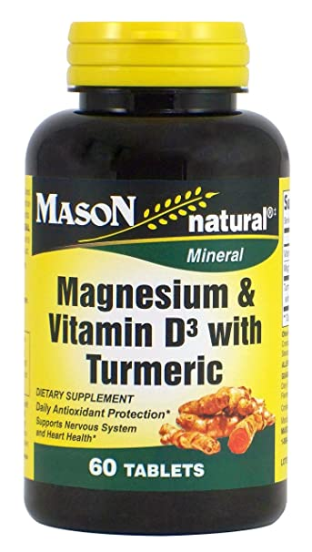 Mason Natural, Magnesium and Vitamin D3 with Turmeric Tablets, 60 Count, Herbal Dietary