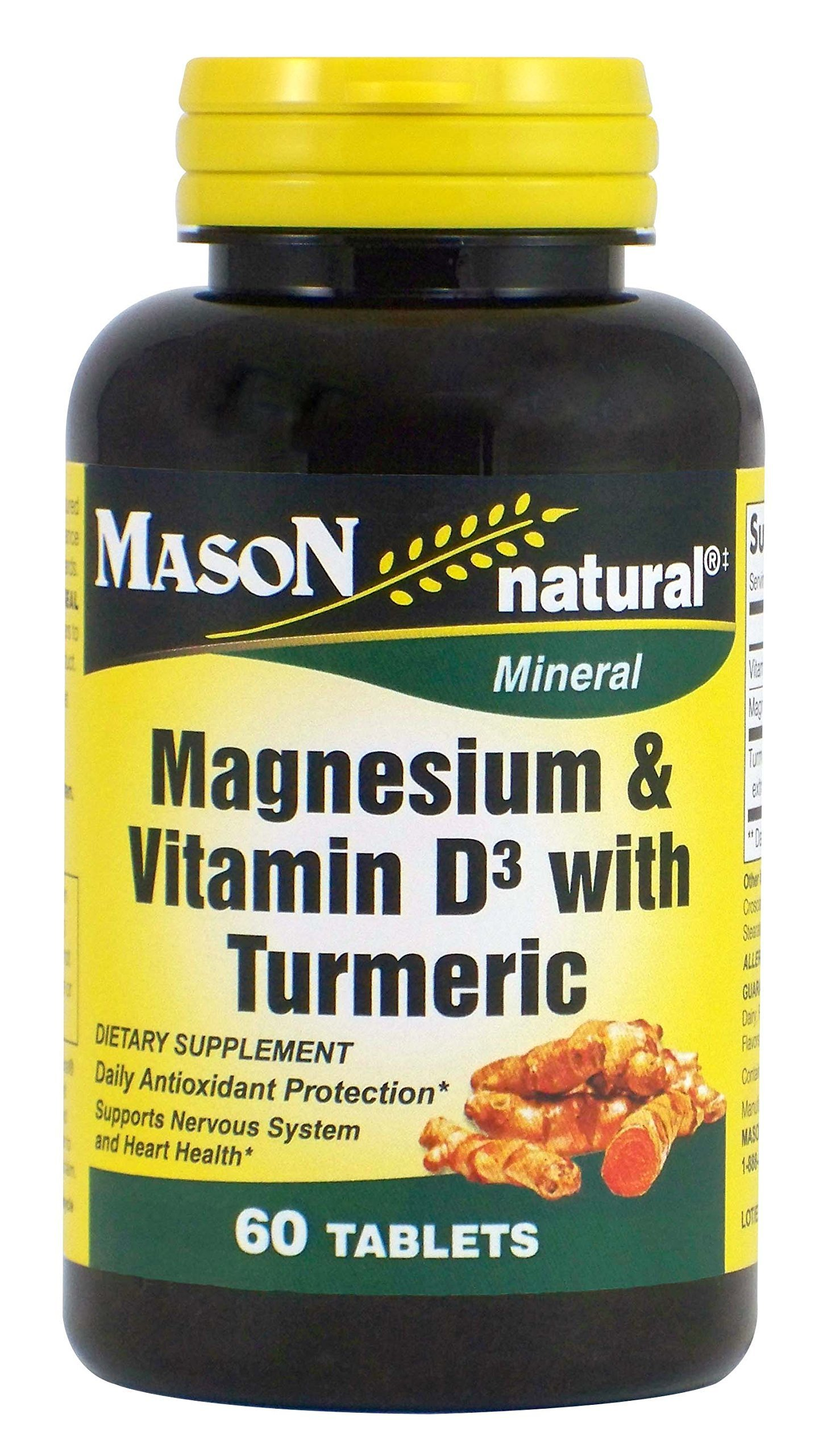 Mason Natural, Magnesium and Vitamin D3 with Turmeric Tablets, 60 Count, Herbal Dietary Supplement with Vitamins, Supports Overall Health and Wellness, Supports Heart and Immune Health