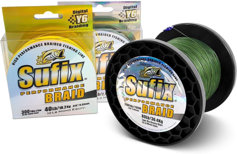 Sufix 832 Advanced Superline Braid, Hi-Vis Yellow, 30-Pound 300-Yard Spool