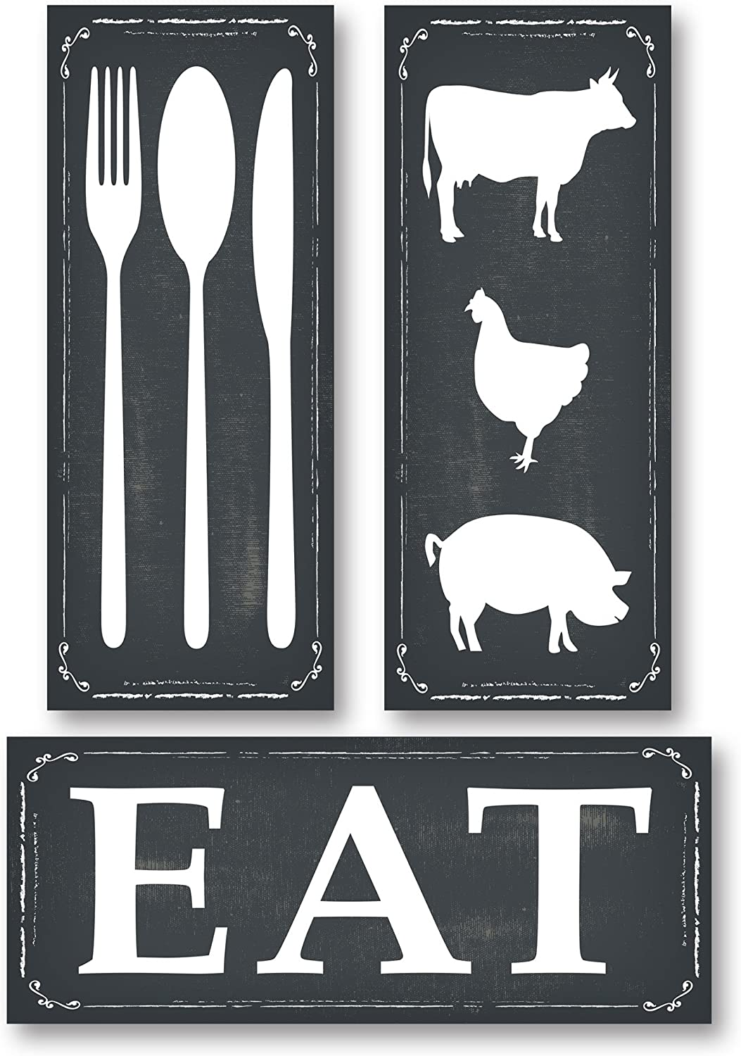 Chalkboard-Style Knife, Fork Spoon, Eat and Farm Animal Panel Prints (Printed On Paper); Three 8x20in Unframed Paper Posters