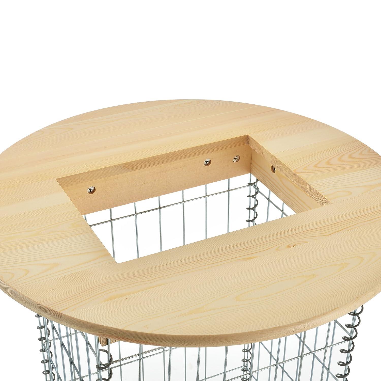 Pro.tec pro.tec ® Bois véritable Table Haute avec Panier des Pierres Table de Gabion