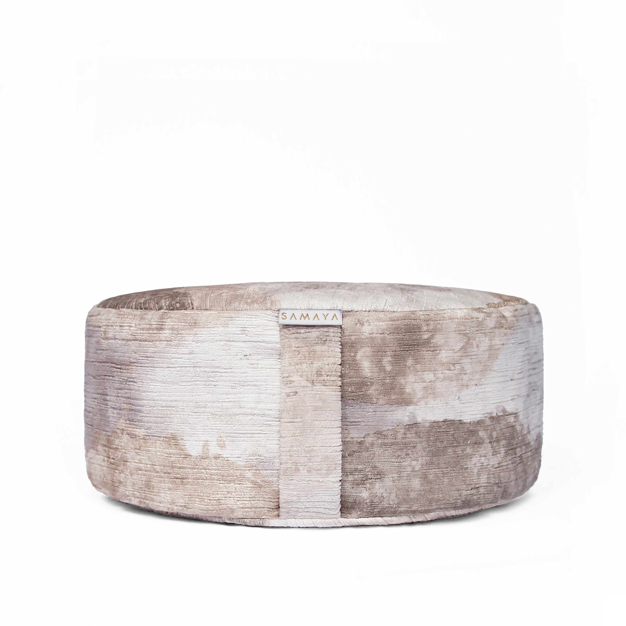 SAMAYA Meditation Cushion | Velvet Floor Pillow Zafu | Buckwheat Millet Filling | Designer Home | Made in USA (Luna)