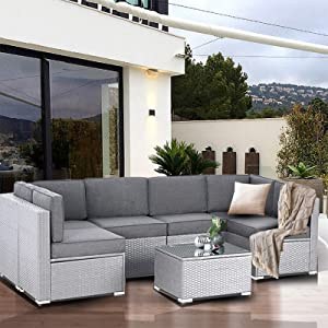 SUNCROWN Outdoor Patio Furniture 7-Piece Sofa Set Grey Wicker, Washable Seat Cushions with YKK Zippers and Modern Glass Coffee Table(Dark Grey Cushion)