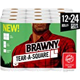 Brawny Tear-A-SSquare 纸巾,12 = 24 卷,3 张尺寸选项,四分之一尺寸,12 张