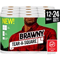 Brawny Tear-A-Square Paper Towels, 12 = 24 Regular Rolls, 3 Sheet Size Options, Quarter Size Sheets, 12 Count