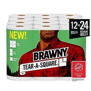 Brawny Tear-A-Square Paper Towels, 12 = 24 Regular Rolls, 3 Sheet Size Options, Quarter Size Sheets, 12 Count
