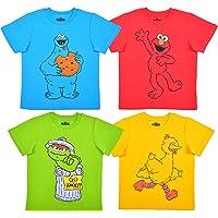 Sesame Street Boy's 4-Pack Elmo, Cookie Monster, Oscar and Big Bird Tee Shirt Set