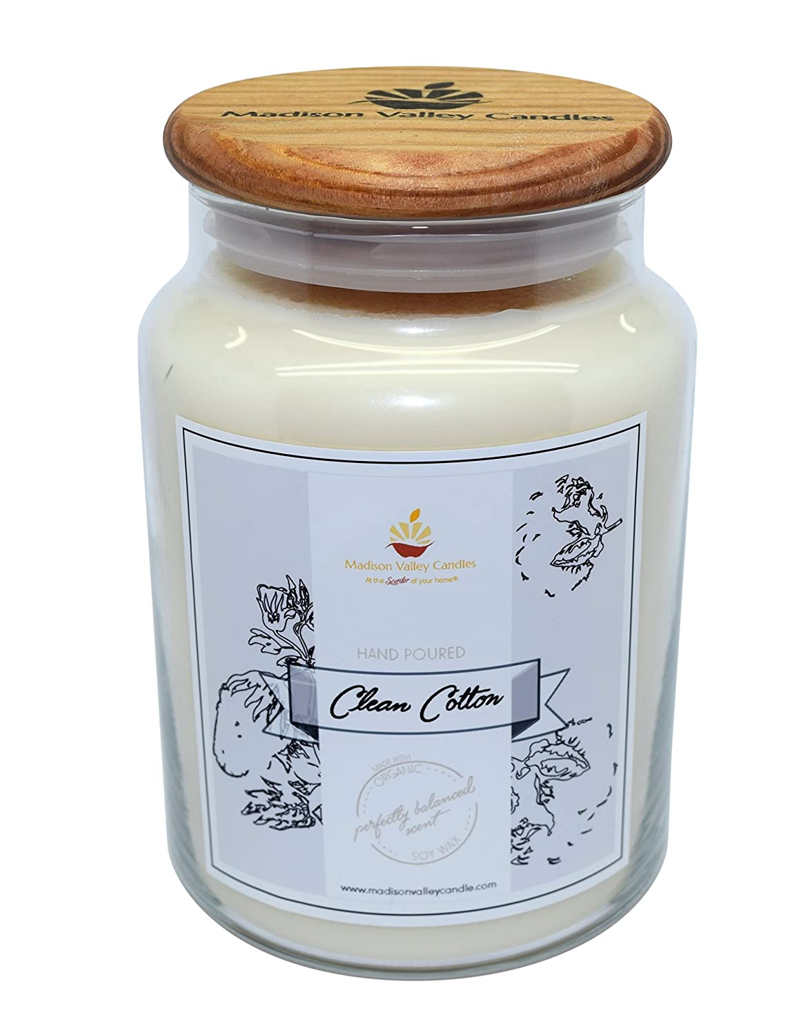 Strong Scented Clean Cotton Soy Candle 26oz By Madison Valley Soy Candle Company
