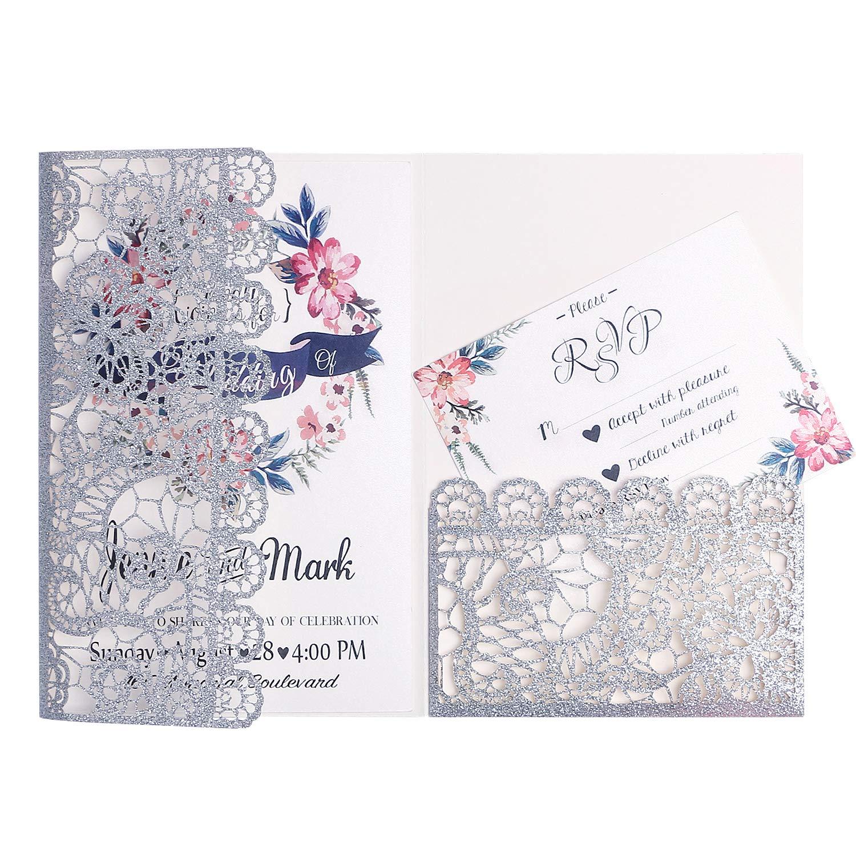 FEIYI 20pcs 3 Folds Laser Cut Lace Flower Pattern Invitations Cards for Birthday Baby Shower Wedding Rehearsal Dinner Invites Birthday Invites (Silver Glitter)