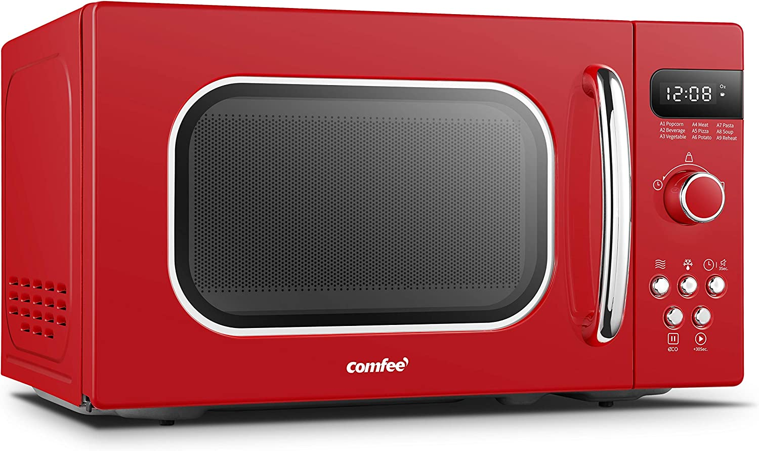 COMFEE AM720C2RA-R Retro Style Countertop Microwave Oven with 9 Auto Menus Position-Memory Turntable, Eco Mode, and Sound On/Off (Passionate ...