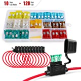 Nilight - 50029R 120 Pcs Standard Blade Fuse 5A/7.5A/10A/15A/20A/25A/30A AMP Assorted Set with 10 Pack 14AWG ATC/ATO…
