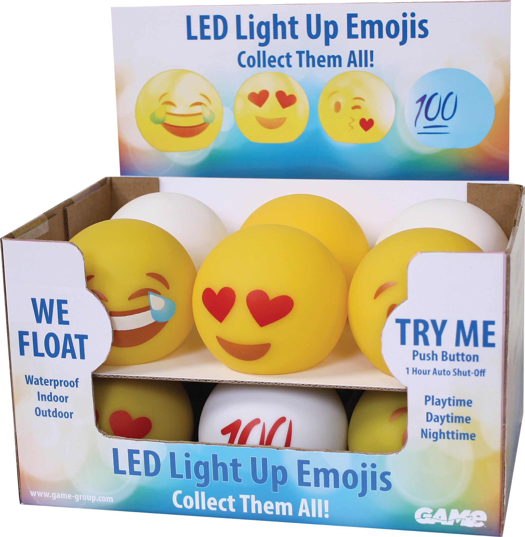 GAME Pool Floating LED Light Up Emojis (12 Assorted) POOL31181-12PQ
