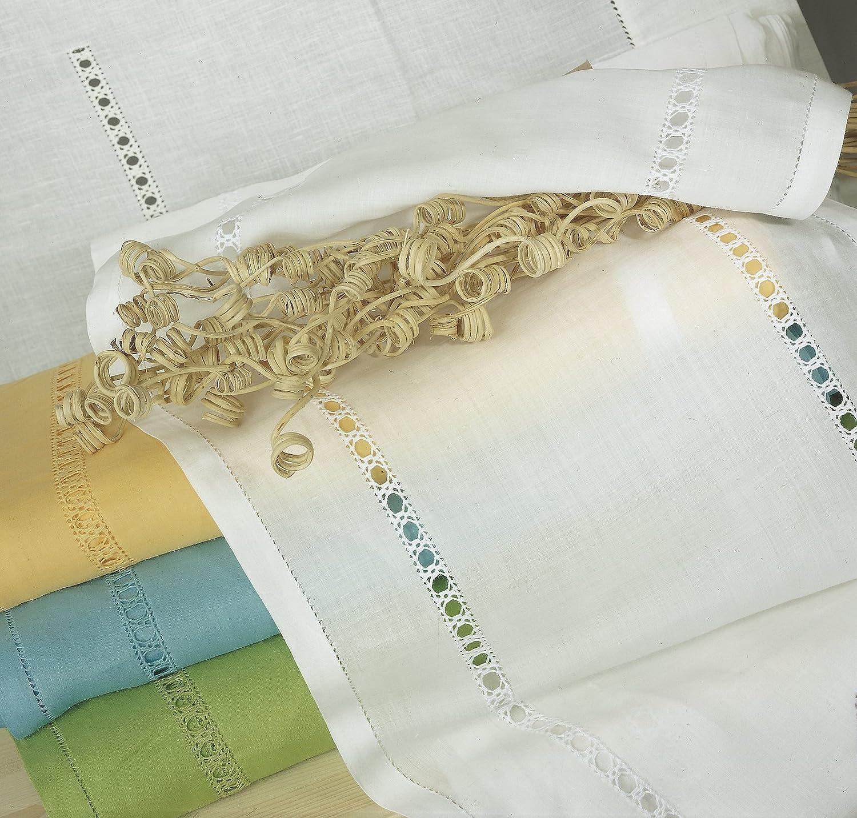 Tenda a metro Ricamata a mano Emanuela Made in Italy 100% Puro Lino Varie Larghezze (40cm) Zenoni & Colombi