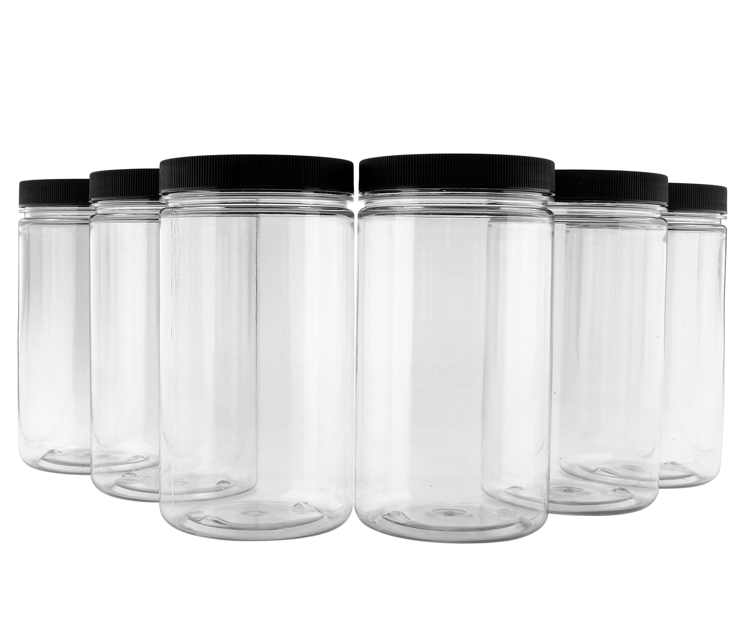 32oz Clear Plastic Jars with Black Ribbed Lids (6 pack): BPA Free PET Quart Size Canisters for Kitchen & Household Storage of Dry Goods, Peanut Butter, and More by Cornucopia Brands