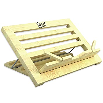 Book Stand | Recipe Holder Large Wood | 3 Position Adjustable Height And  Portable | Cook